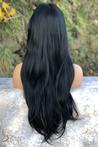 Siyah Düz Model Uzun Fiber Peruk